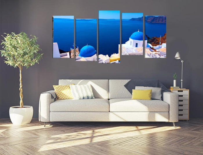 Panoramic View With Greek Orthodox Church With Blue Domes In Oia Village In Santorini Island Image Multi Panel Canvas Print wall Art - MPC91 - Art Fever - Art Fever