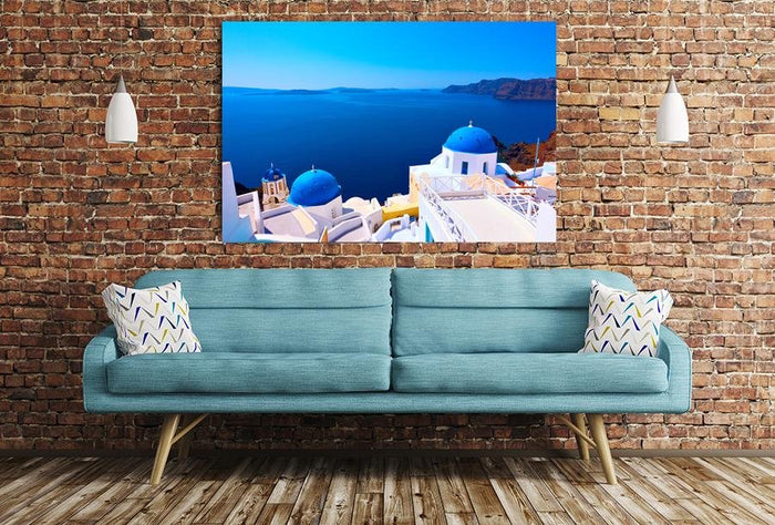 Panoramic View With Greek Orthodox Church With Blue Domes In Oia Village In Santorini Island Image Printed Onto A Single Panel Canvas - SPC15 - Art Fever - Art Fever