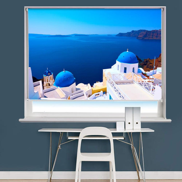 Panoramic View With Greek Orthodox Church With Blue Domes In Oia Village In Santorini Island Printed Photo Picture Roller Blind - RB726 - Art Fever - Art Fever