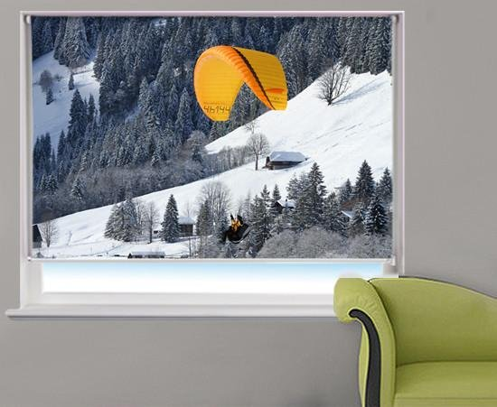 Para-glider Over The Alps Printed Picture Photo Roller Blind - RB326 - Art Fever - Art Fever