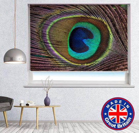 Peacock Feathers Pattern Printed Picture Photo Roller Blind - RB624 - Art Fever - Art Fever