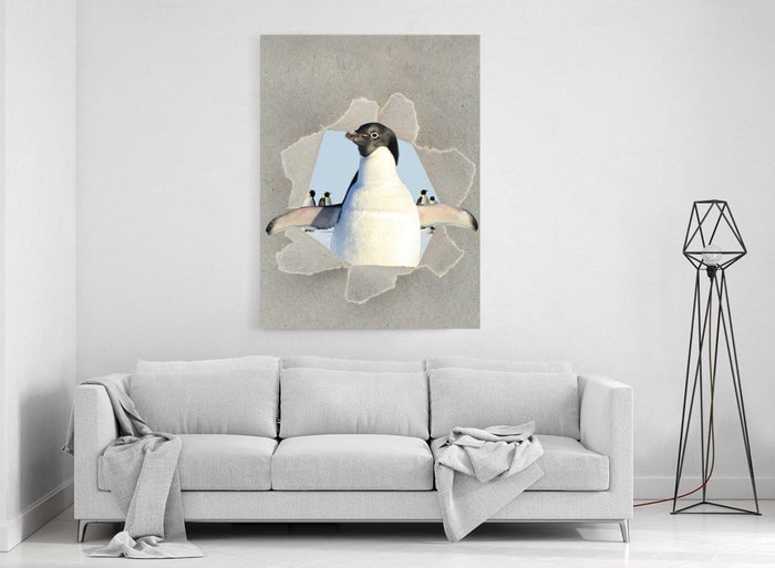 Penguin Peeking through the Canvas Safari Scene Printed Canvas Print Picture - SPC181 - Art Fever - Art Fever