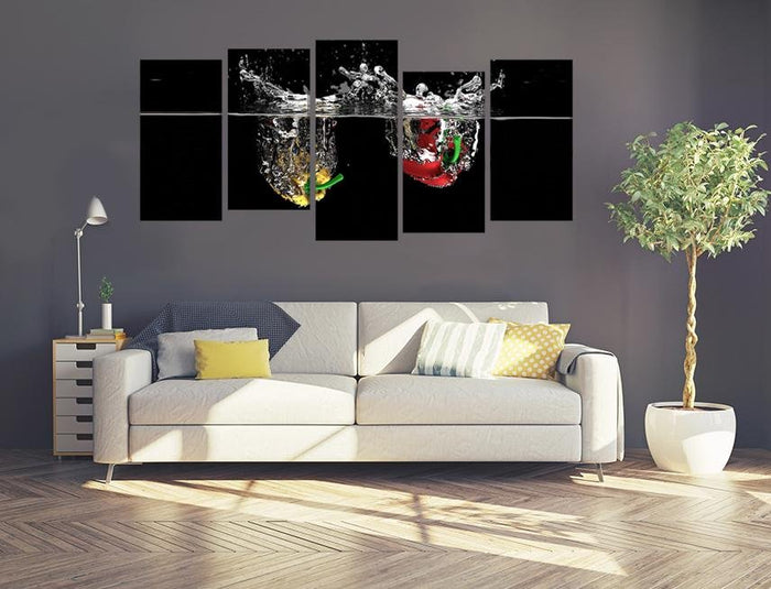 Peppers Water Splash Garden Multi Panel Canvas Print wall Art - MPC69 - Art Fever - Art Fever