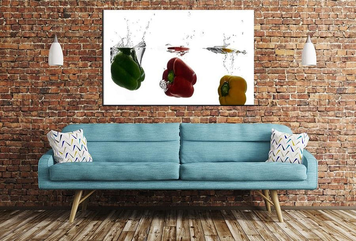 Peppers Water Splash Image Printed Onto A Single Panel Canvas - SPC123 - Art Fever - Art Fever