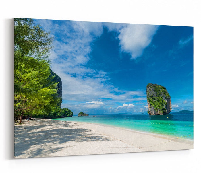Photo View Of Krabi In The Shade Of A Tree On The Beach, Thailand Printed Canvas Print Picture - SPC227 - Art Fever - Art Fever