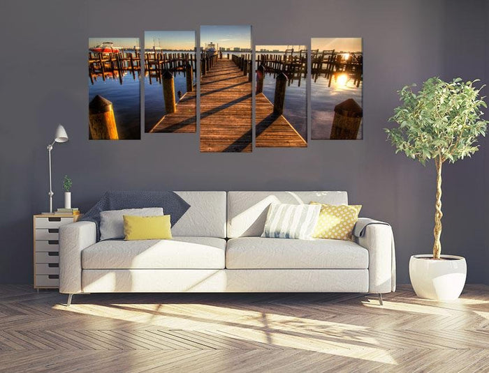 Pier Harbor Walkway Sunset Multi Panel Canvas Print wall Art - MPC54 - Art Fever - Art Fever