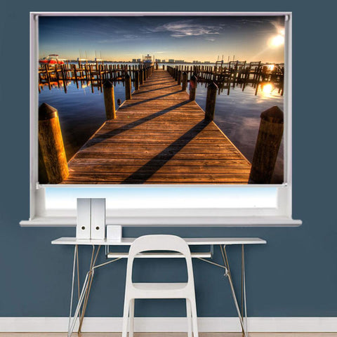 Pier Harbor Walkway Sunset Ocean Printed Picture Roller Blind - RB772 - Art Fever - Art Fever