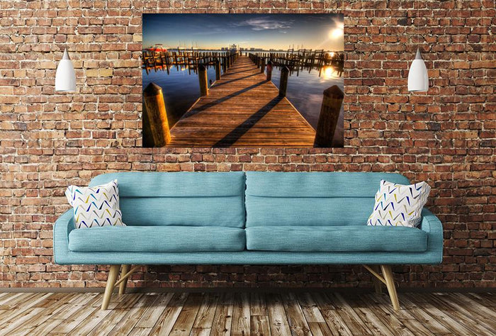 Pier Harbour Walkway Sunset Image Printed Onto A Single Panel Canvas - SPC60 - Art Fever - Art Fever