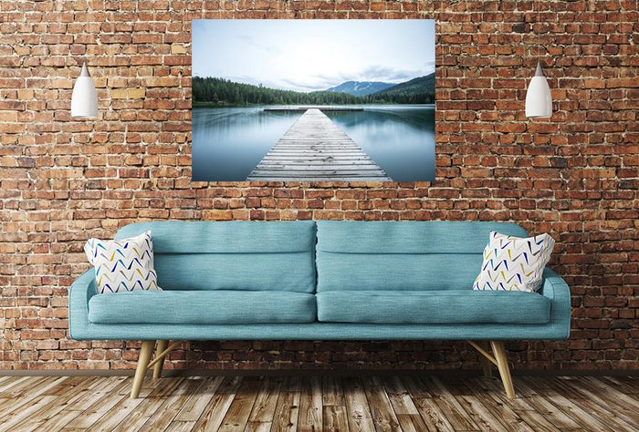 Pier Trees Mountains Image Printed Onto A Single Panel Canvas - SPC61 - Art Fever - Art Fever