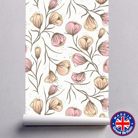 Pink & Cream Floral Pattern Removable Self Adhesive Wallpaper - WM607 - Art Fever - Art Fever