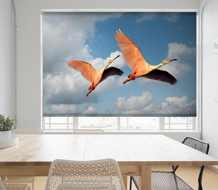 Pink Flamingos Flying Printed Picture Photo Roller Blind - RB679 - Art Fever - Art Fever