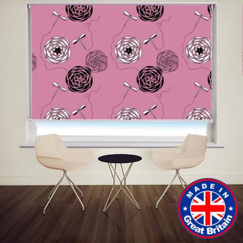 Pink Retro Floral Pattern Pattern Printed Picture Photo Roller Blind - RB530 - Art Fever - Art Fever