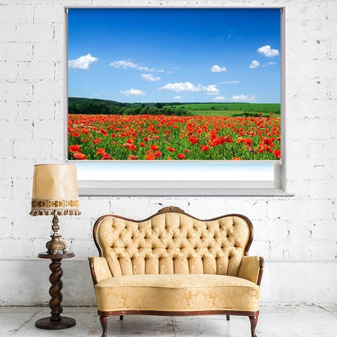 Poppies and the Blue Sky Printed Picture Photo Roller Blind - RB410 - Art Fever - Art Fever