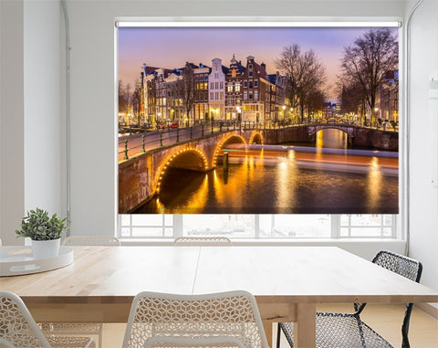 Printed Picture Photo Roller Blind Amsterdam Canals West Side At Dusk - RB1012 - Art Fever - Art Fever