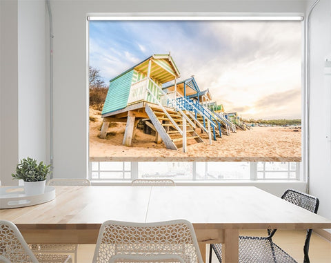 Printed Picture Photo Roller Blind Long Line Of Colorful Beach Huts At Sunset - RB1015 - Art Fever - Art Fever