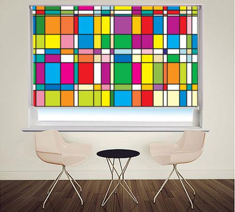 Printed Picture Photo Roller Blind Mondrian Style Abstract Art - RB991 - Art Fever - Art Fever