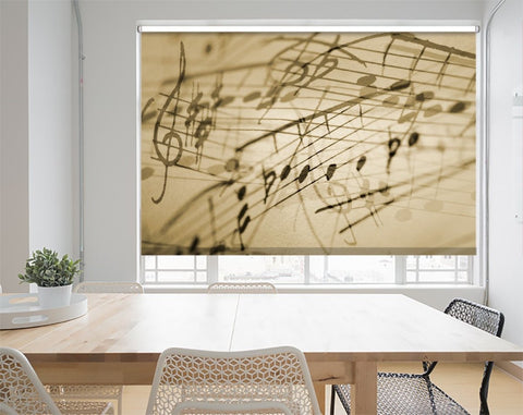 Printed Picture Photo Roller Blind Music Notes on vintage Background - RB1023 - Art Fever - Art Fever