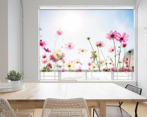Printed Picture Photo Roller Blind Pink Flowers in Sunlight - RB1009 - Art Fever - Art Fever