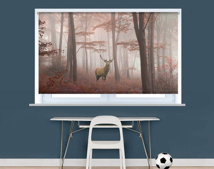 Printed Picture Photo Roller Blind Red Deer Stag in Foggy Autumn Woods - RB990 - Art Fever - Art Fever