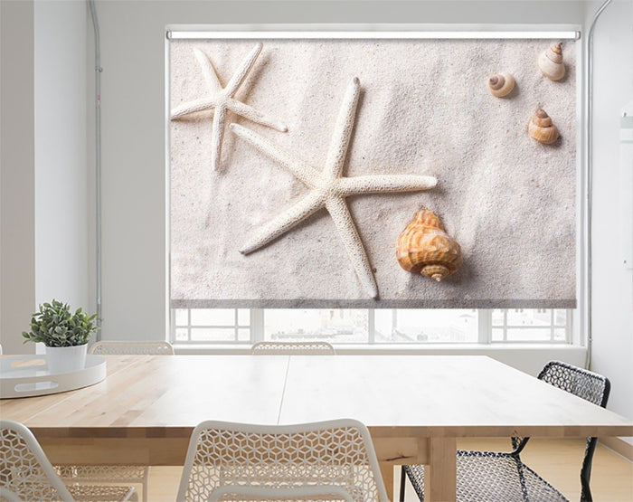 Printed Picture Photo Roller Blind Sea Shells in Sand - RB1007 - Art Fever - Art Fever