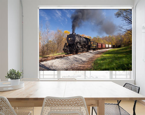Printed Picture Photo Roller Blind Western Maryland Railroad Steam Train - RB1020 - Art Fever - Art Fever