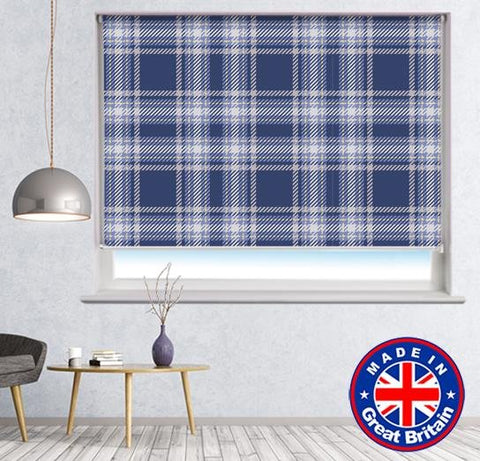 Purple Blue Tartan Plaid Pattern Printed Picture Photo Roller Blind - RB606 - Art Fever - Art Fever