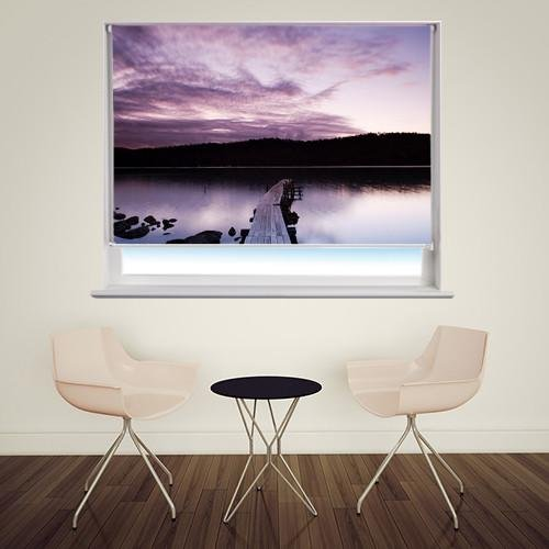 Purple Sunset Pier Printed Picture Photo Roller Blind - RB223 - Art Fever - Art Fever