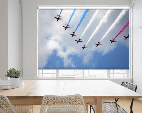 Red Arrows in the Blue Sky Printed Picture Photo Roller Blind - RB666 - Art Fever - Art Fever