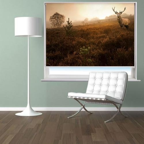 Red deer stag in the misty Field Printed Picture Photo Roller Blind - RB103 - Art Fever - Art Fever
