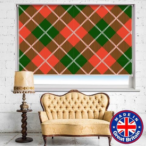 Red Green Square Tartan Plaid Pattern Printed Picture Photo Roller Blind - RB608 - Art Fever - Art Fever