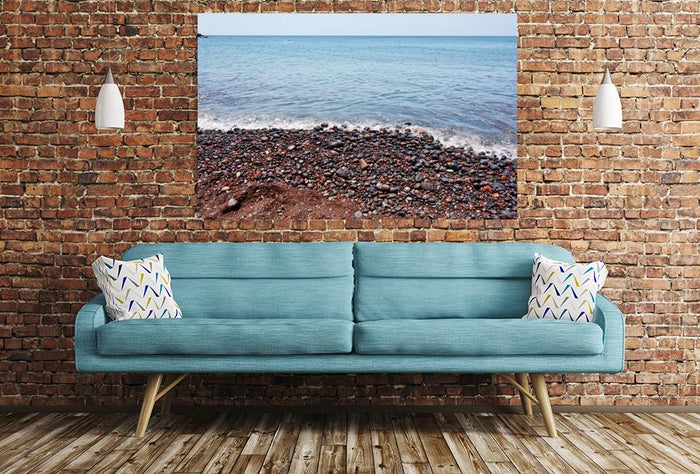 Red Pebbles Of The Typical Red Beach Of Santorini, Greece Image Printed Onto A Single Panel Canvas - SPC17 - Art Fever - Art Fever