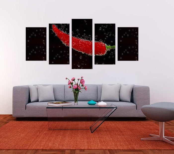 Red Pepper Image Multi Panel Canvas Print wall Art - MPC160 - Art Fever - Art Fever
