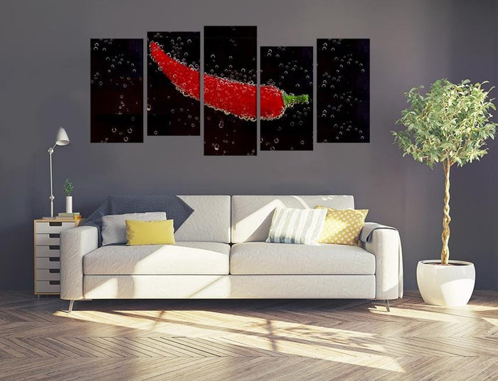 Red Pepper Image Multi Panel Canvas Print wall Art - MPC161 - Art Fever - Art Fever