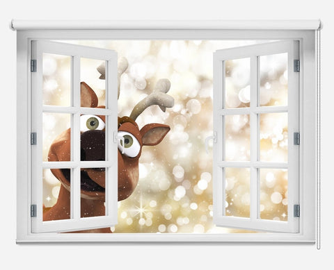 Reindeer Looking Through The Window Christmas Scene Printed Picture Photo Roller Blind - RB1049 - Art Fever - Art Fever