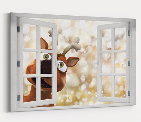 Reindeer Peeking through the Window Christmas Scene Printed Canvas Print Picture - SPC192 - Art Fever - Art Fever