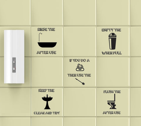 "Removable Printed Clear ""Funny Quotes"" Bathroom Tile Stickers - Pack Of 10 - Art Fever - Art Fever"