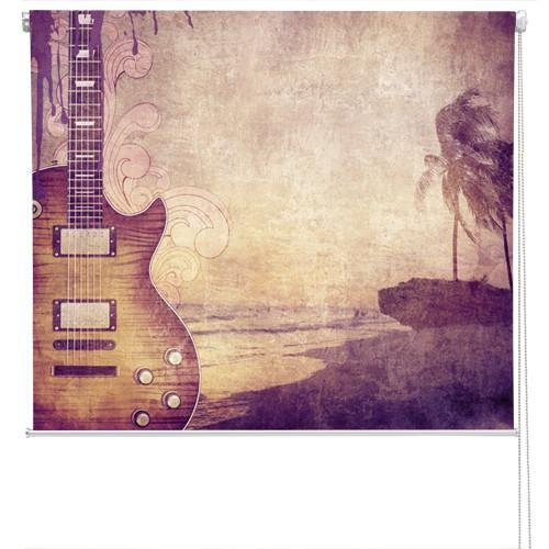 Retro music grunge style Guitar Printed Picture Photo Roller Blind - RB170 - Art Fever - Art Fever