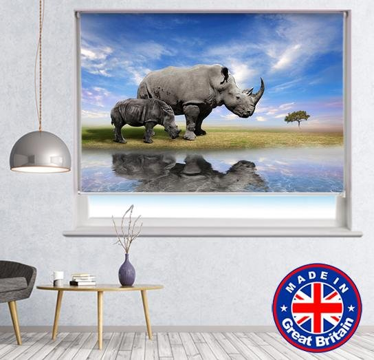 Rhino Water Reflection Printed Picture Photo Roller Blind - Art Fever - Art Fever