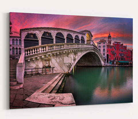 Rialto Bridge And San Bartolomeo Church At Sunrise, Venice Printed Canvas Print Picture - SPC160 - Art Fever - Art Fever