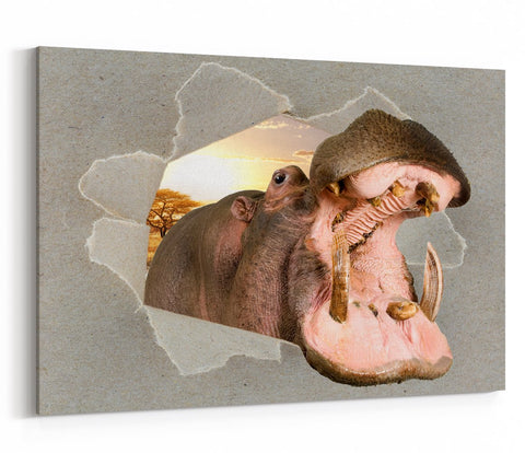 Roaring Hippo Peeking through the Canvas Animal Scene Printed Canvas Print Picture - SPC194 - Art Fever - Art Fever