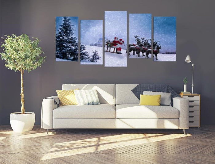 Santa Claus Scene Image Multi Panel Canvas Print wall Art - MPC121 - Art Fever - Art Fever