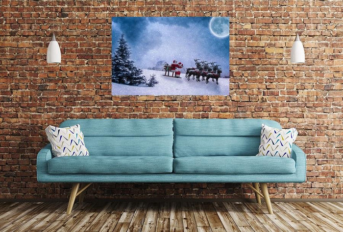 Santa Claus Scene Image Printed Onto A Single Panel Canvas - SPC98 - Art Fever - Art Fever