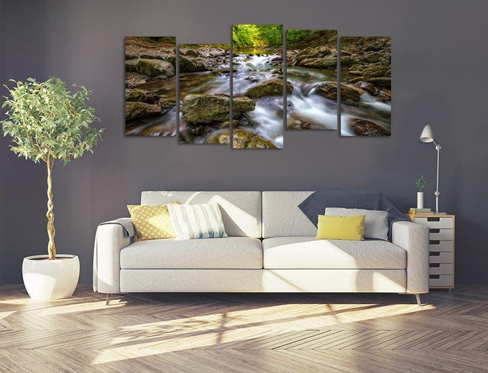SCENIC VIEW OF AMAZING WATER MOTION BLUR OF A WATER STREAM BETWEEN ROCKS Multi Panel Canvas Print wall Art - MPC12 - Art Fever - Art Fever