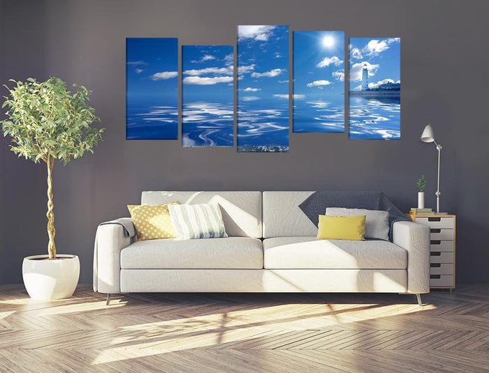 Sea & Lighthouse Multi Panel Canvas Print wall Art - MPC18 - Art Fever - Art Fever