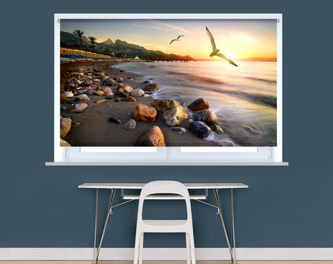 Seagulls flying over beach in Mediterranean sea at sunset Image Printed Roller Blind - RB971 - Art Fever - Art Fever