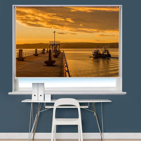 Seascape Harbour Pier Printed Picture Roller Blind - RB774 - Art Fever - Art Fever