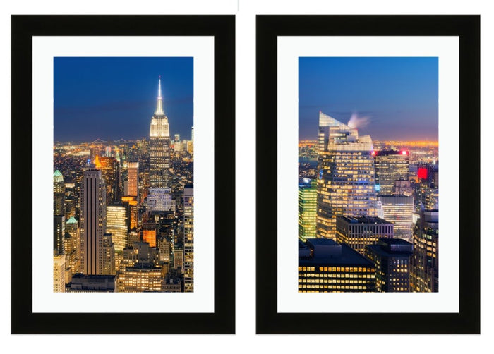 Set of 2 x Framed Mounted Prints of New York Night Skyline - FP98 - Art Fever - Art Fever