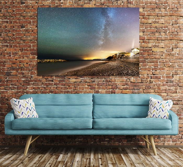 Sidmouth by night and the Milky Way Canvas Print Wall Art Picture - SPC152 - Art Fever - Art Fever