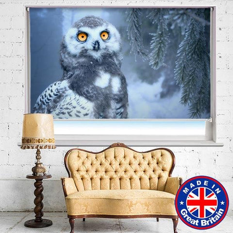 Snow Owl In Forest Printed Picture Photo Roller Blind - RB625 - Art Fever - Art Fever