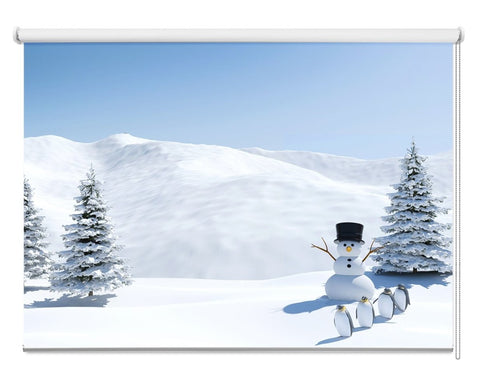 Snowman, Penguins & Christmas Trees Printed Picture Photo Roller Blind - RB1080 - Art Fever - Art Fever